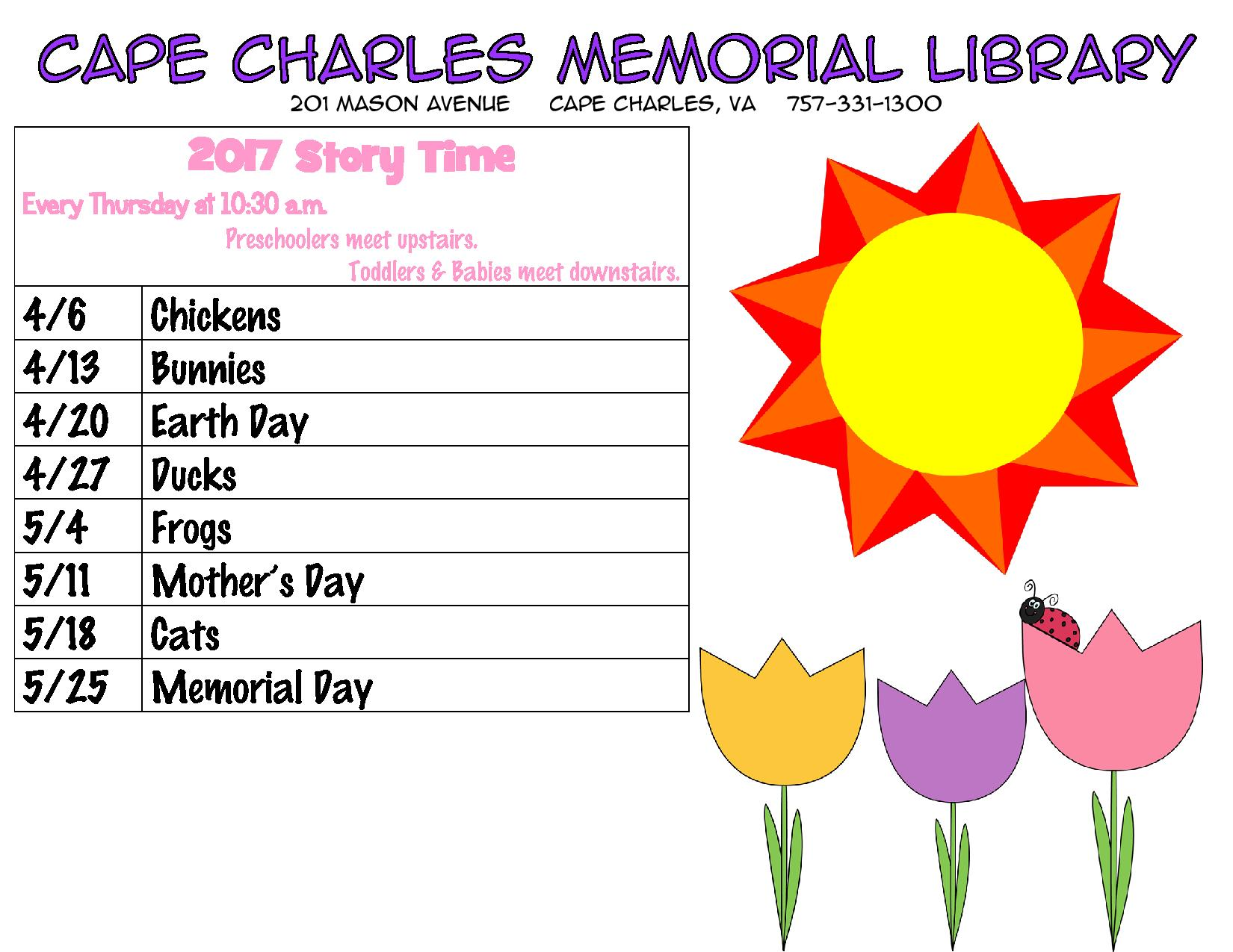 Cape Charles Toddler/Preschool Story Time @ Cape Charles Memorial Library | Cape Charles | Virginia | United States