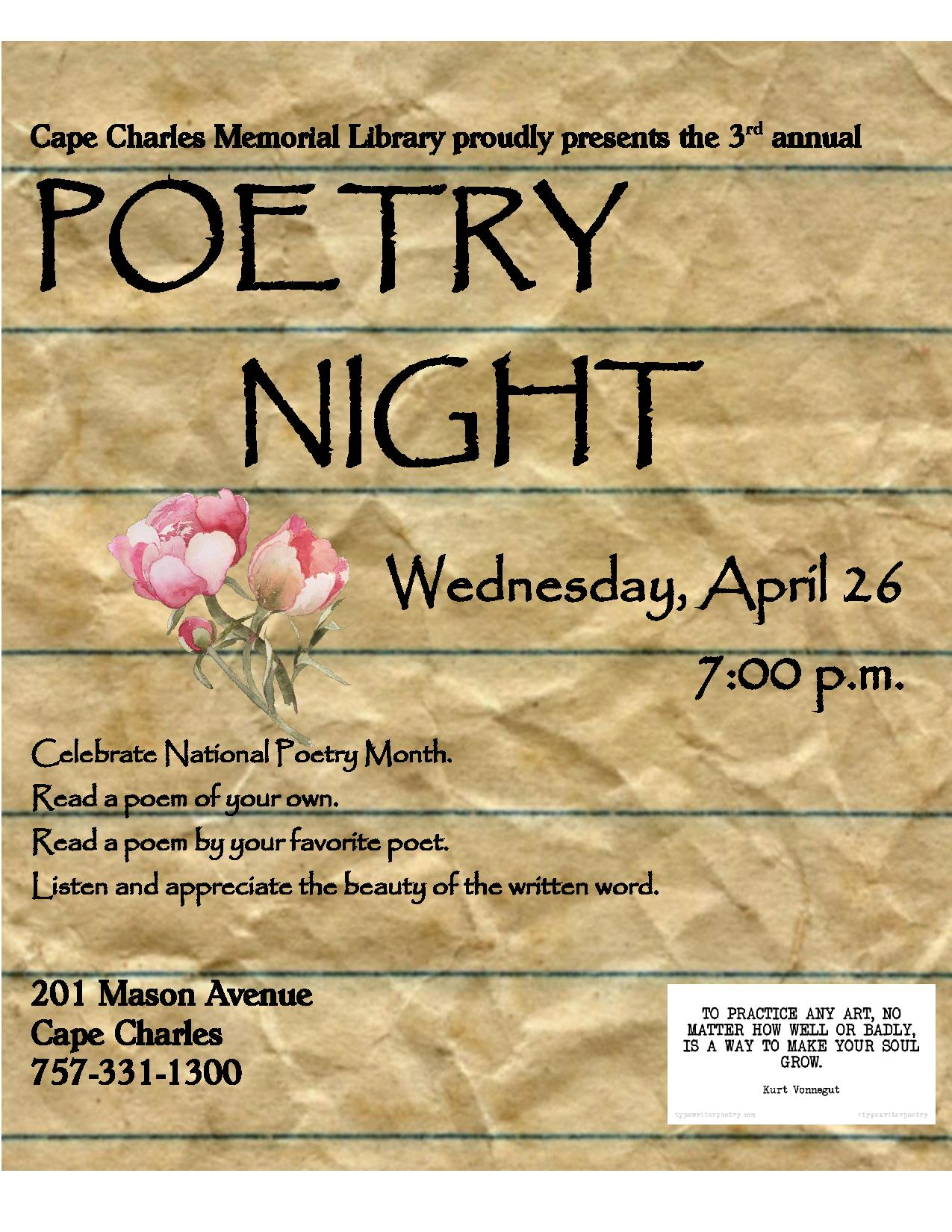 Poetry Night @ Cape Charles Memorial Library | Cape Charles | Virginia | United States