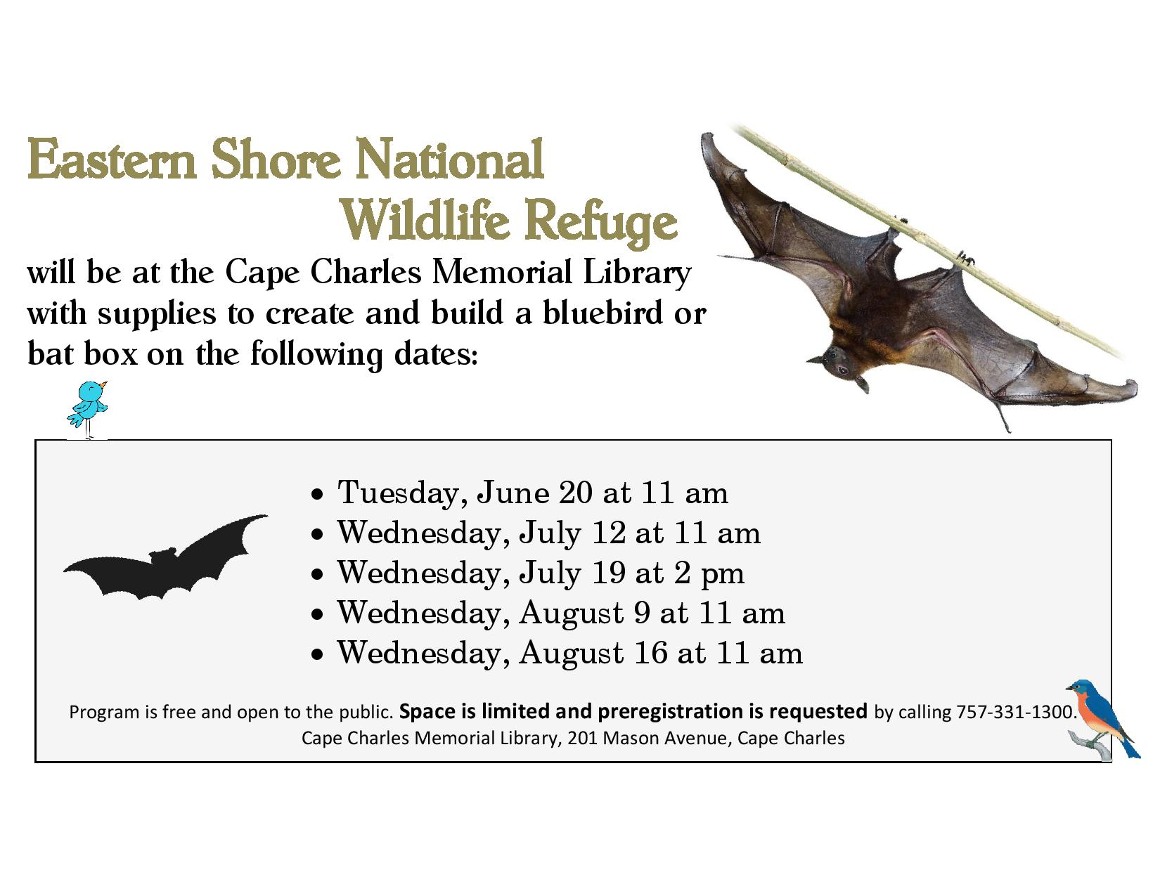 Build a Bat or Bird Box w ES National Wildlife Refuge @ Cape Charles Memorial Library