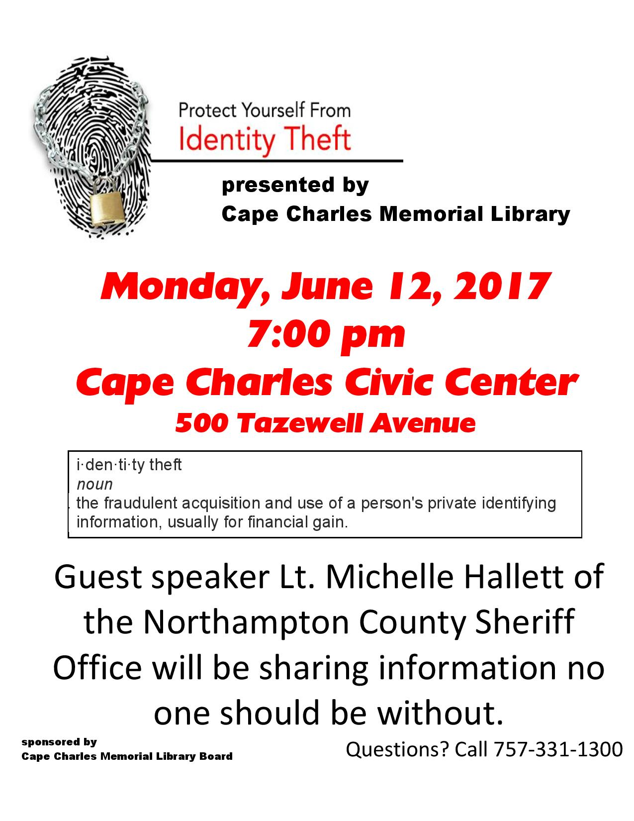 Identity Theft presentation - Friends of CCML @ Cape Charles Civic Center | Cape Charles | Virginia | United States