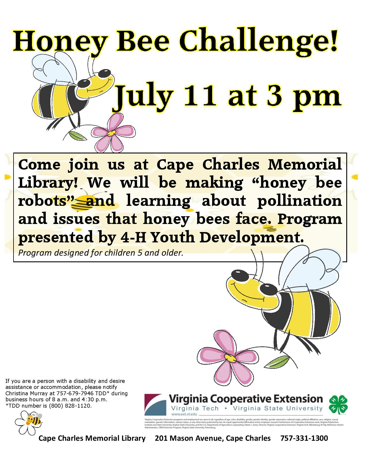 Honeybee Challenge with 4-H @ Cape Charles Memorial Library
