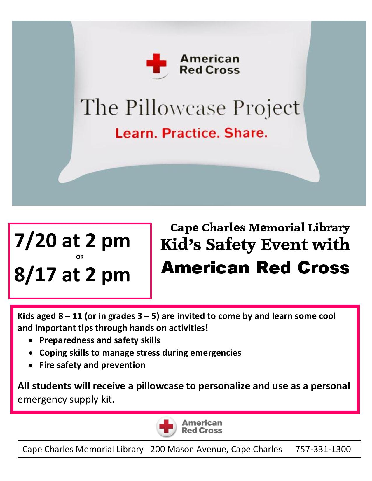 Pillowcase Project with American Red Cross @ Cape Charles Memorial Library