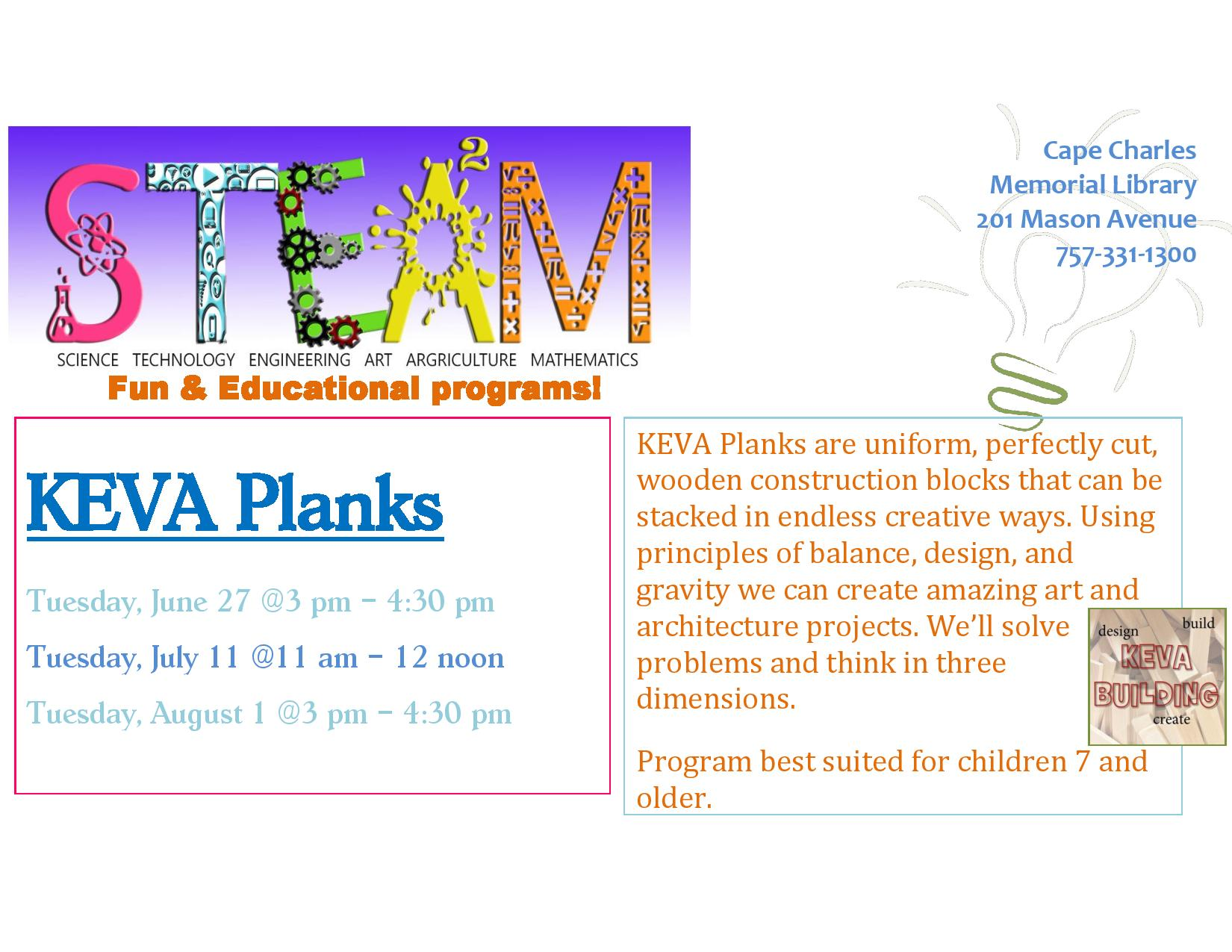 STEAM Fun with KEVA Planks @ Cape Charles Memorial Library | Cape Charles | Virginia | United States