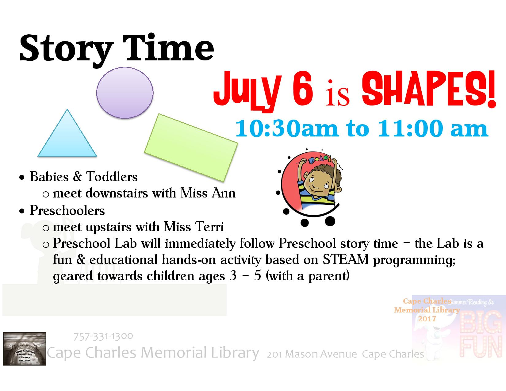 Story Time and Preschool Shapes Lab @ Cape Charles Memorial Library | Cape Charles | Virginia | United States