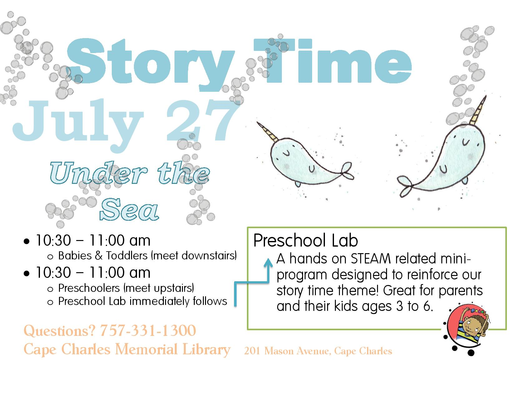 "Preschool Story Time and Lab ""Under the Sea"" @ Cape Charles Memorial Library"