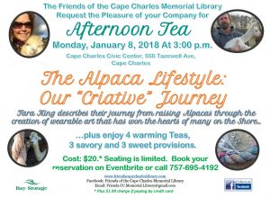 "The Alpaca Lifestyle: Our ""Criative"" Journey - Afternoon Tea @ Cape Charles Civic Center"