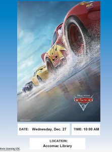 Movie Showing of Cars 3-Accomac Library @ ESPL MAIN | Accomac | Virginia | United States