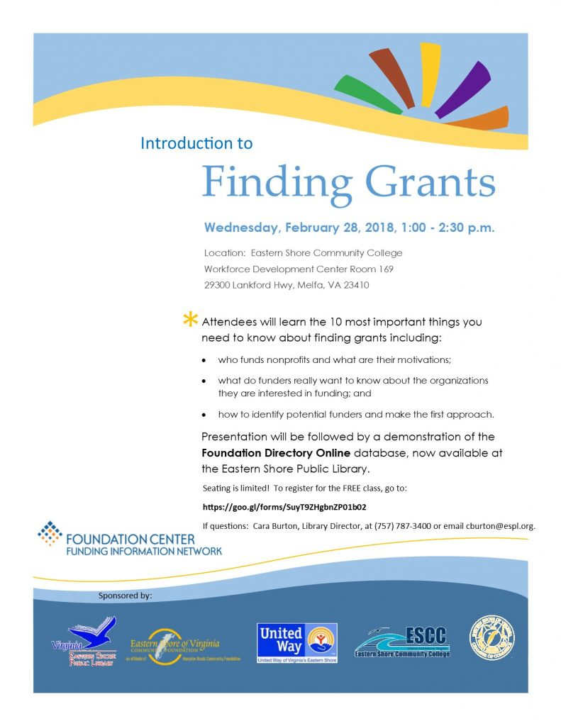 Finding Grants Workshop @ Eastern Shore Community College | Melfa | Virginia | United States