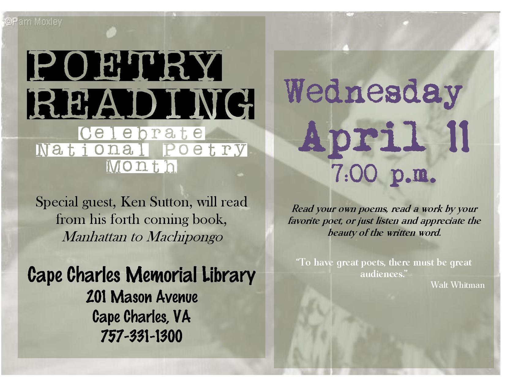 Poetry Reading @ Cape Charles Memorial Library | Cape Charles | Virginia | United States