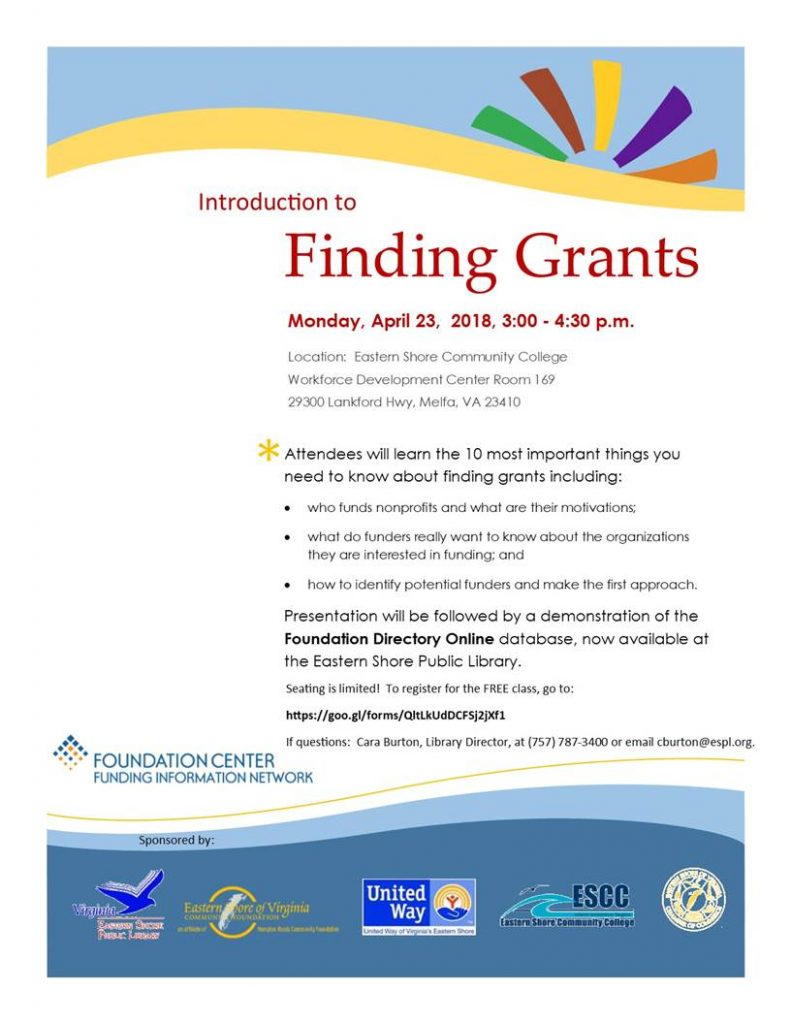 Introduction to Finding Grants @ Eastern Shore Community College | Melfa | Virginia | United States
