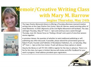 Memoir/Creative Writing Class with Mary M. Barrow @ Cape Charles Civic Center | Cape Charles | Virginia | United States