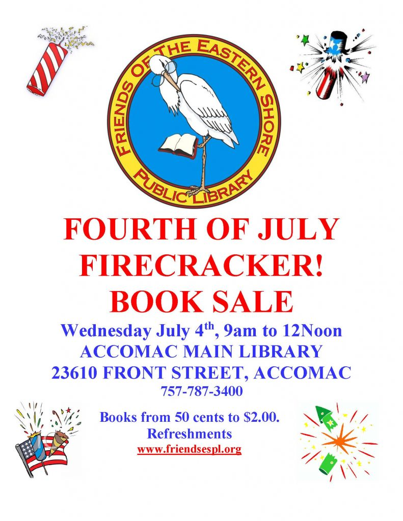 Fourth of July Firecracker Book Sale @ ESPL MAIN | Accomac | Virginia | United States