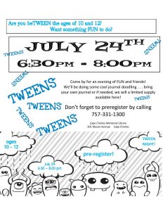 Tween Night! @ Cape Charles Memorial Library | Cape Charles | Virginia | United States