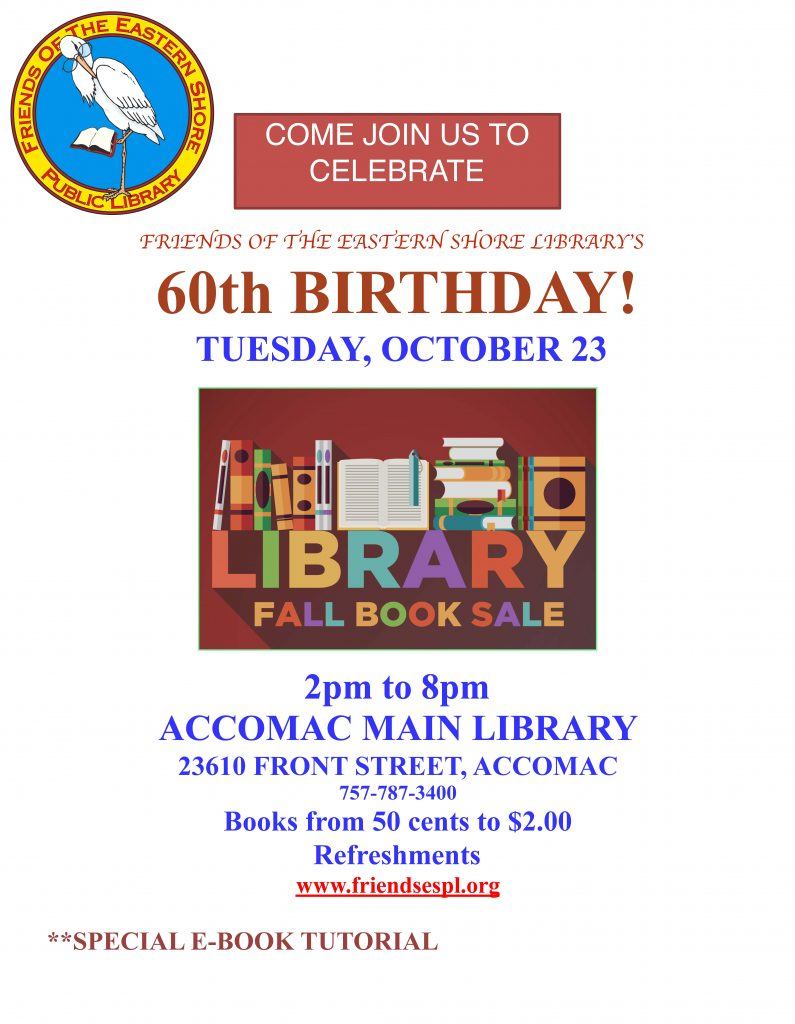 60th Birthday Book Sale @ ESPL MAIN | Accomac | Virginia | United States