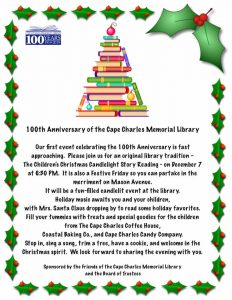 100th Anniversary Children's Candlelight Story Reading @ Cape Charles Memorial Library | Cape Charles | Virginia | United States