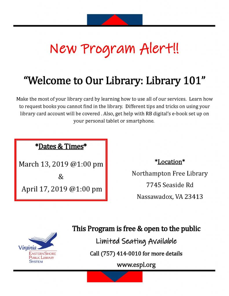 Library 101-Northampton Free Library @ Northampton Free Library