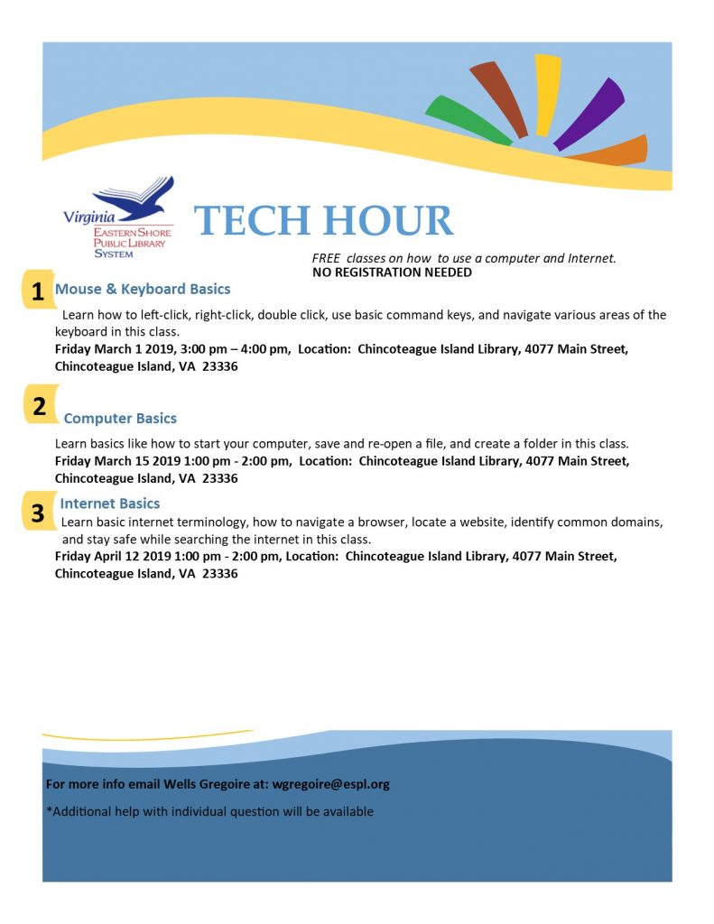 Tech Hour- Chincoteague Island Library @ Chincoteague Island Library
