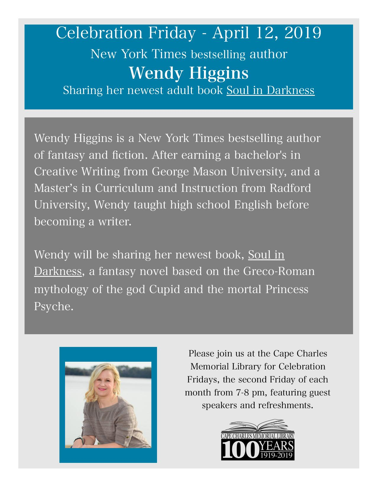 Celebration Friday with Wendy Higgins @ Cape Charles Memorial Library