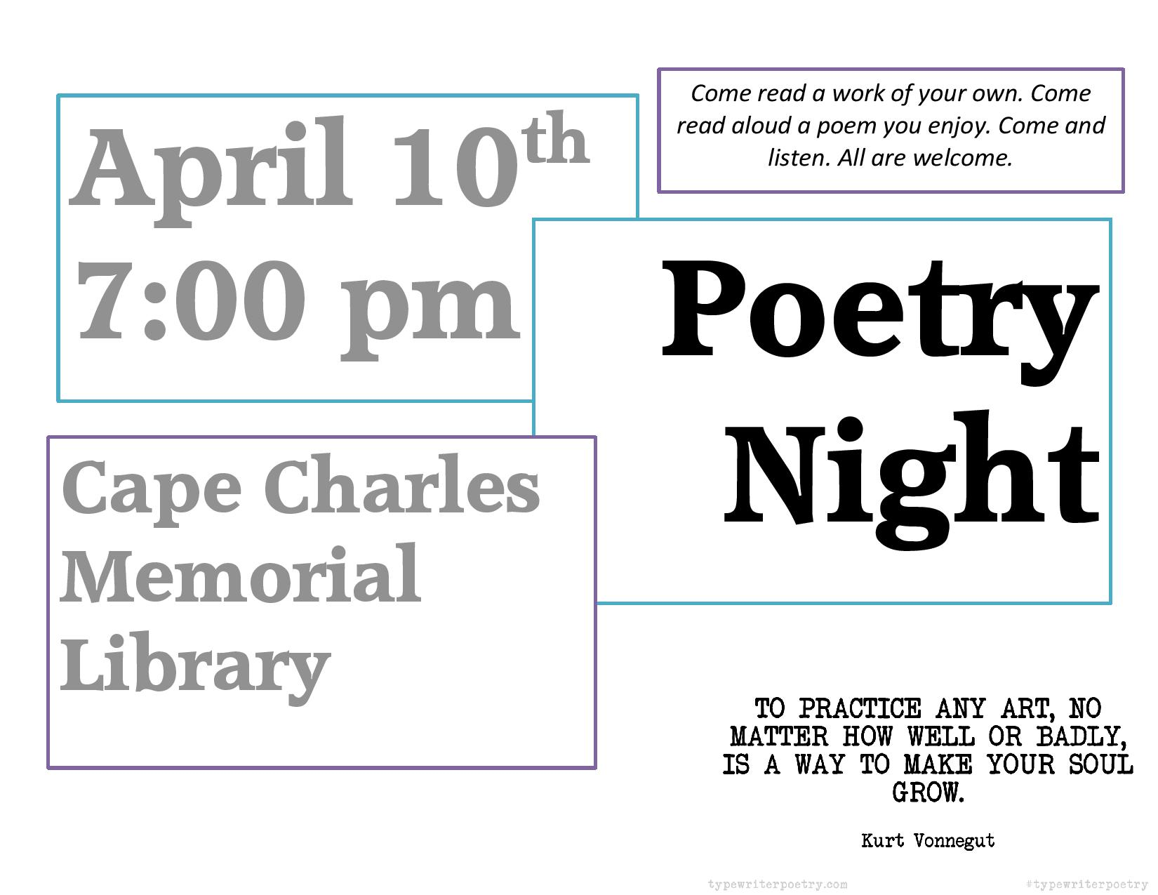 Poetry Night @ Cape Charles Memorial Library