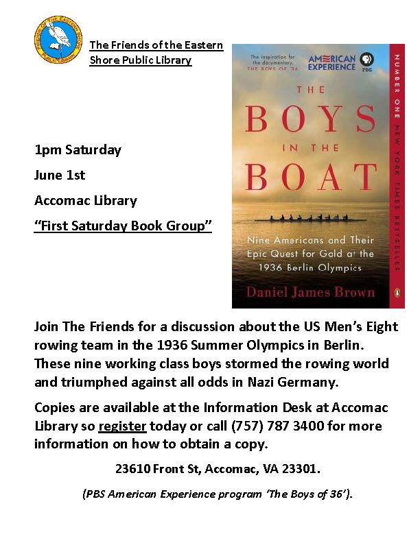 ESPL Friends Book Discussion Group-The Boys in the Boat @ Eastern Shore Public Library