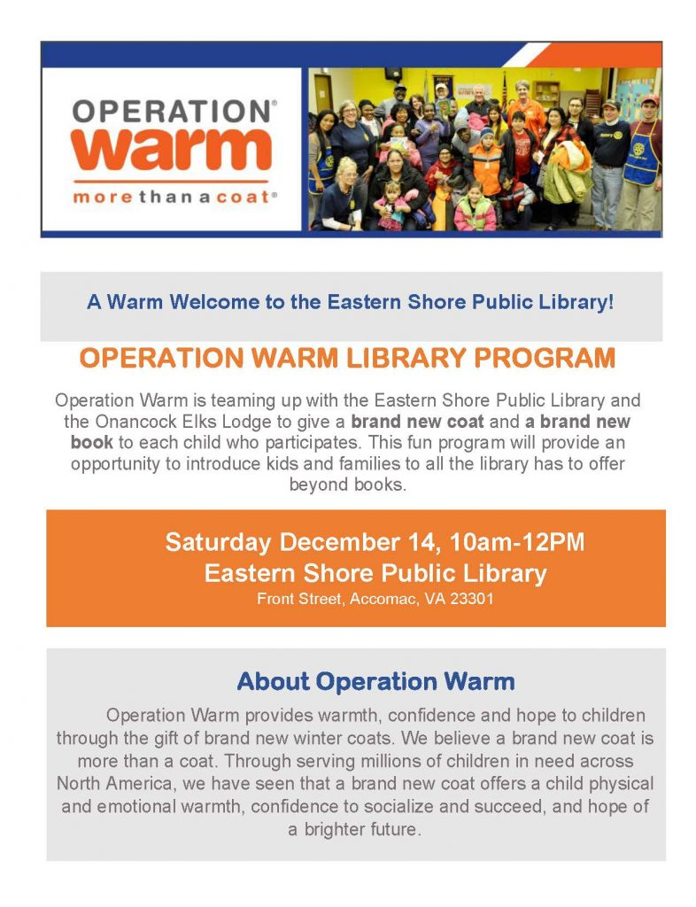 Operation Warm - Free Coats for Kids and Holiday Fun Event @ Eastern Shore Public Library