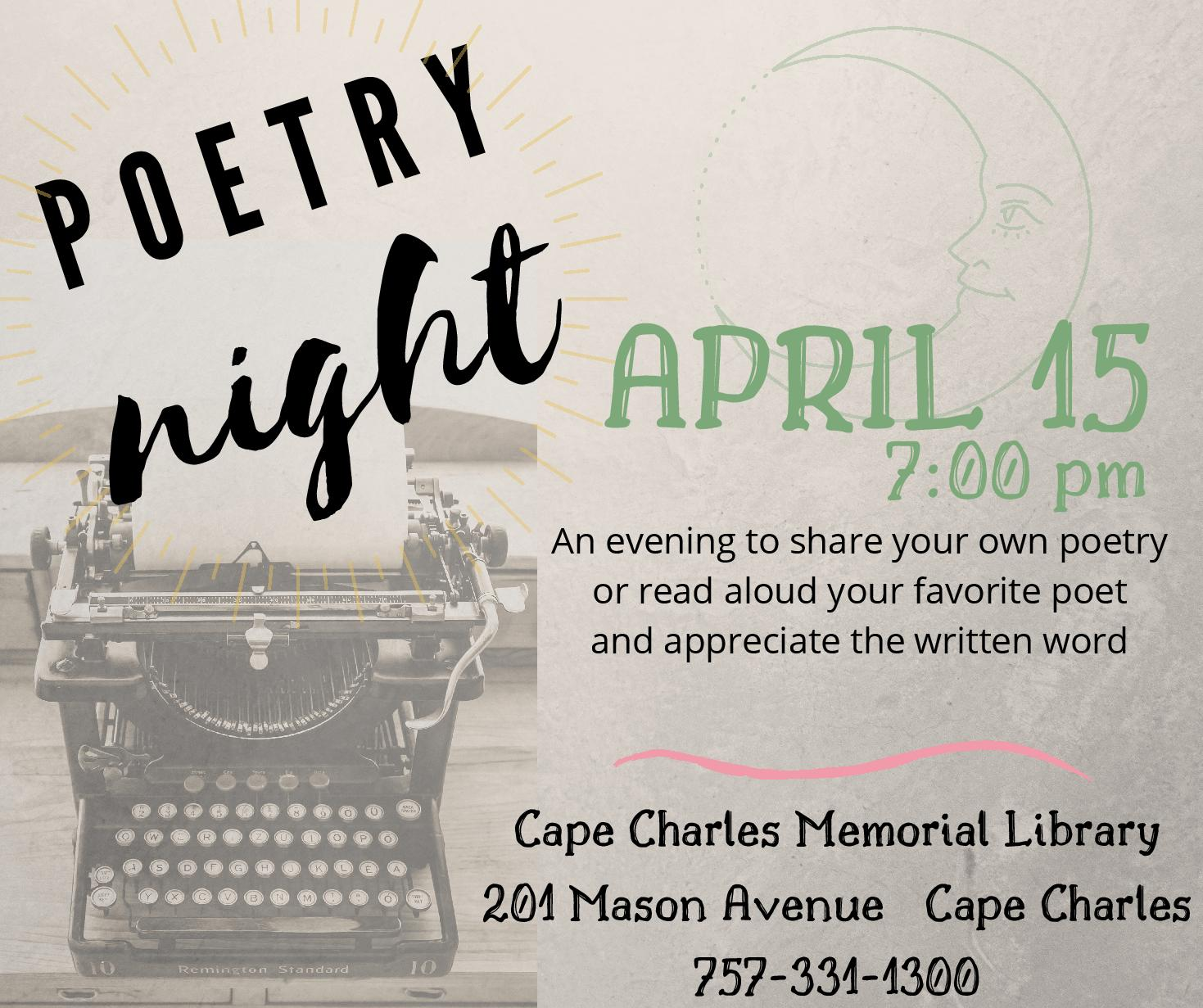 Poetry Night @CCML @ Cape Charles Memorial Library